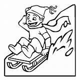 Coloring Pages Winter Sled Sledding Kid Season Colouring Drawing Happy Slidding Printable Boy Sketch Sheets Toboggan Template Sleds Clipartmag Boys sketch template