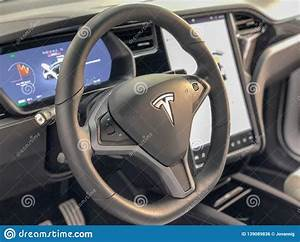 NEW YORK CITY - DECEMBER 1 2018: Interior Of Tesla Car With Steering Wheel And Big Screen. Tesla ...
