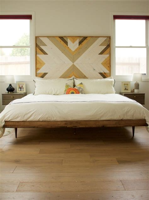 midcentury modern bed wooden headboard home inspo