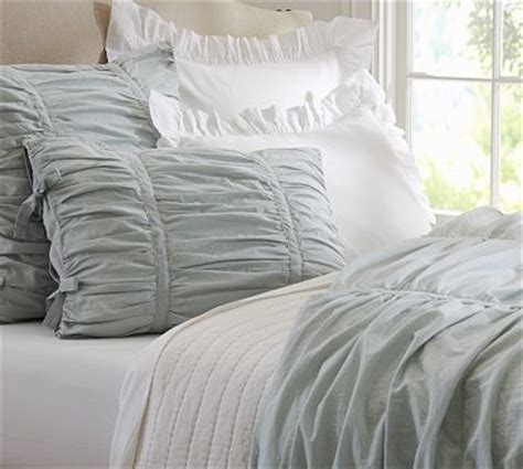 Pottery Barn Grey Bedding by Hadley Ruched Duvet Gray Mist Traditional