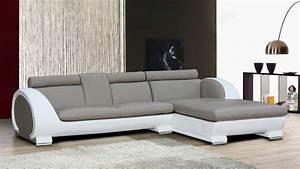 Canape Angle Cuir Blanc : canape angle cuir omaha blanc gris mobilier cuir ~ Teatrodelosmanantiales.com Idées de Décoration