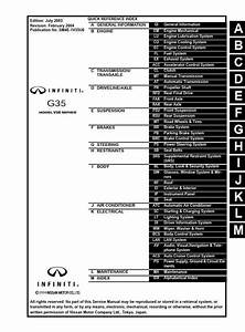 Infiniti G35 Sedan Model V35 Series 2004 Service Manual