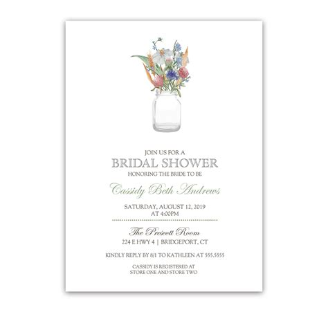 jar bridal shower invitations jar with wildflowers floral bridal shower invite