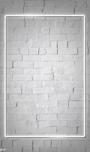Rectangle white neon frame on a white brick wall vector ...