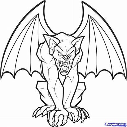 Gargoyle Coloring Draw Drawing Gargoyles Pages Line