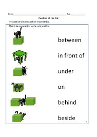 preposition worksheets  kindergarten google search