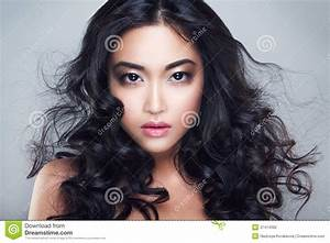 Young And Beautiful Asian Woman With Curly Hair Stock ...