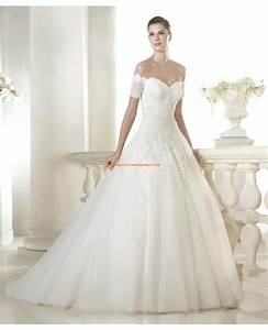 robe de mariee 2015 princesse tulle col coeur manches courtes With robe col coeur