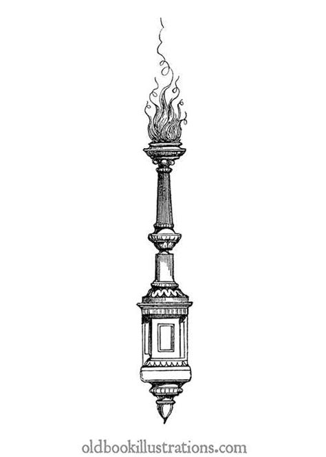 decorative torch old book illustrations