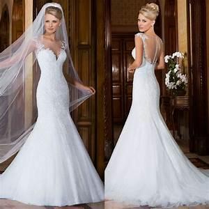 Cap Sleeve Wedding Dress Mermaid Lace White Wedding Gowns