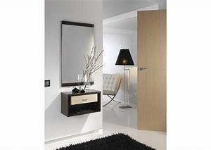 Acheter votre meuble d'entrée avec tiroir et miroir chez Simeuble