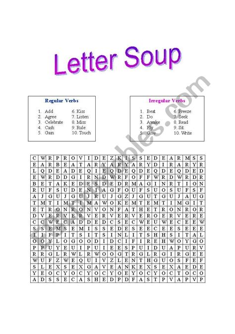 english worksheets letter soup  verbs