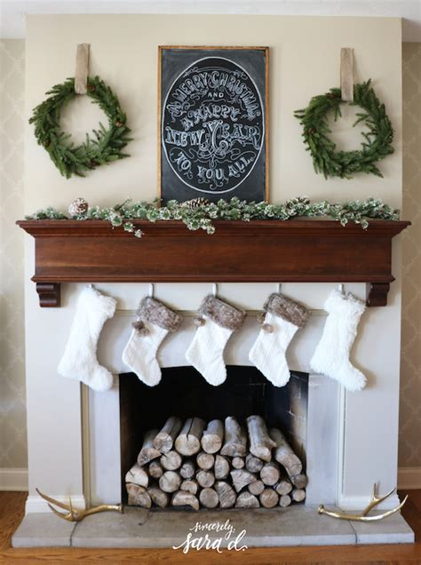 Christmas Fireplace Decor Ideas   Sincerely, Sara D.