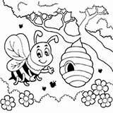 Bee Honey Coloring Bees Spring Printable Surfnetkids Sheets Colouring Hive Flower Queen Cartoon Worksheets Beehives Animal Buzzing Pollen Drawings Bugs sketch template