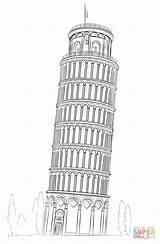 Pisa Tower Coloring Drawing Leaning Pages Sketch Drawings Draw Von Turm Cartoon Tour Easy Building Pencil Printable Italy Dubai Pizie sketch template