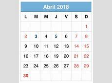 Abril 2018 calendario 1 2019 2018 Calendar Printable