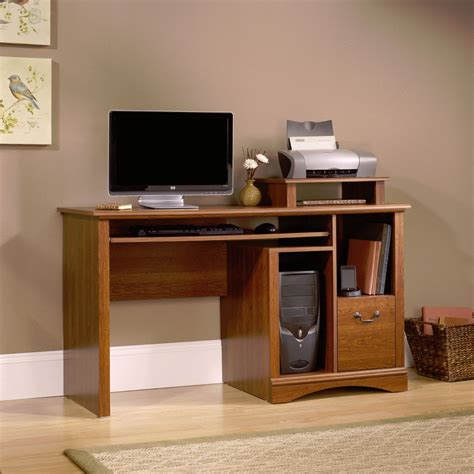 new sauder furniture camden county computer desk planked cherry finish ebay