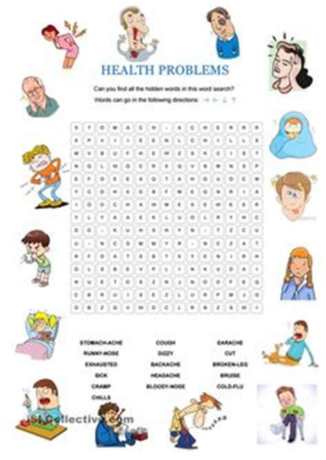 Health Problems Illnesses Sickness Ailments Injuries Matching Exercise Vocabulary Worksheet Icon