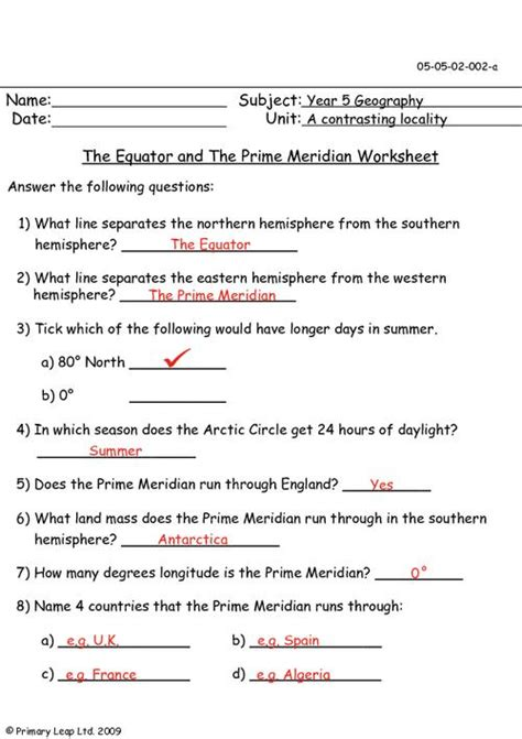 geography  equator   prime meridian worksheet