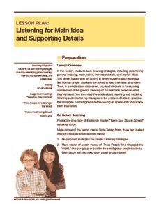 listening for idea and supporting details lesson plan