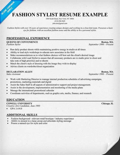 Wardrobe Stylist Resume by Fashion Stylist Exle Resume Resumecompanion
