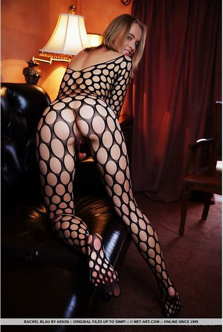 Teasing nude flashing in her fancy see-through fishnet bodysuit
