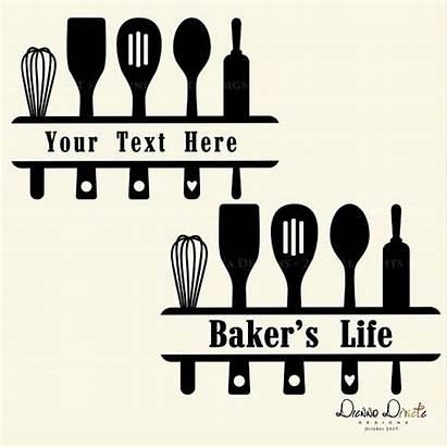 Kitchen Signs Clipart Baking Svg Split Utensil