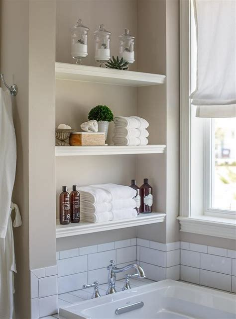bathroom wall shelves casual cottage arctic gray cottage bathroom benjamin moore arctic gray the lily pad cottage