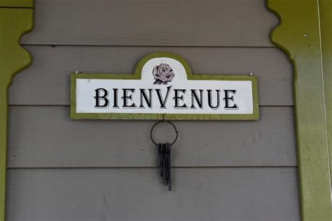 Bienvenue sign stock photo. Image of style, outside, brown ...