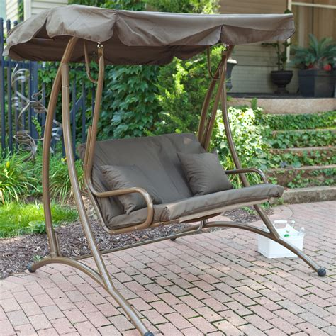 swing with canopy coral coast bay 2 person canopy swing chocolate