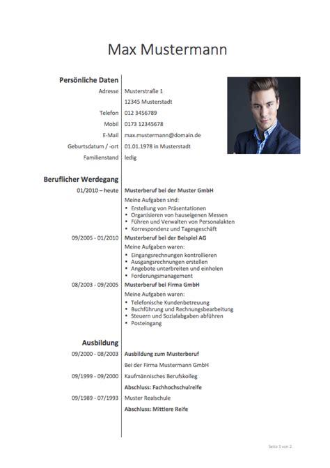 Vorlagen Für Bewerbungen Und Lebenslauf by Lebenslauf Muster Meinebewerbung Net