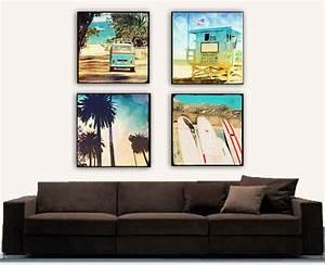 Retro beach large canvas wall art surfer