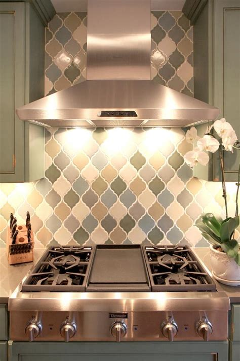 transitional kitchen backsplash  arabesque tiles hgtv