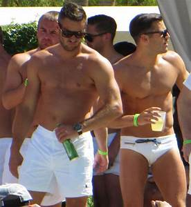 Mark Wright wears tiny white shorts at his Las Vegas stag