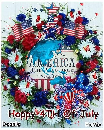 4th July Happy Animated America Wreath Lovethispic