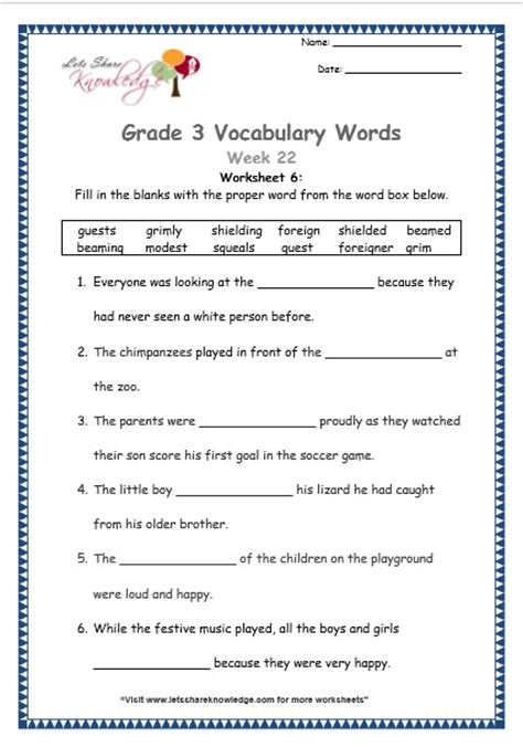 vocabulary worksheets grade 3 grade 3 vocabulary worksheets week 22 lets knowledge
