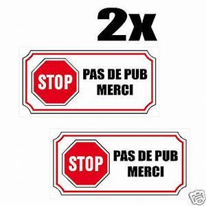 Pas De Pub Merci : 4 x autocollants stickers blanc stop pub pas de ~ Dailycaller-alerts.com Idées de Décoration