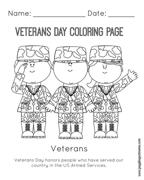 veteran s day printable coloring page juggling act