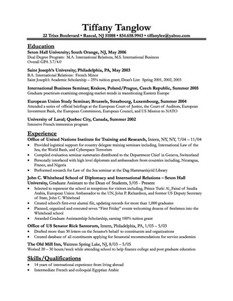 Business Resume Template by Business Student Resume Exles More About Gov Grants