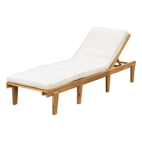 Chaise Lounge by Teak Wood Outdoor Chaise Lounge With Cushion