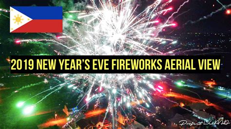 2019 New Year's Eve Fireworks Aerial View In The