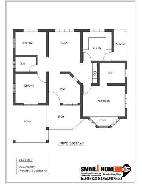 3 bedroom house plans one 1320 sqft kerala style 3 bedroom house plan from smart