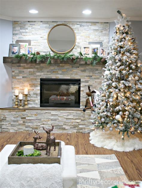 diy stacked stone fireplace