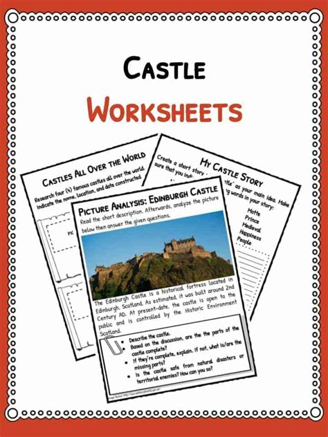 castle facts information worksheets  kids teaching