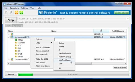 scan ip ranges and perform on lan tasks advance ip scanner