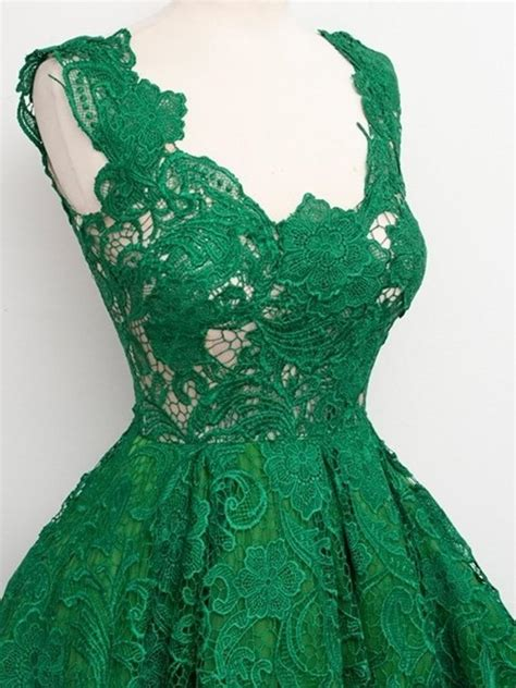 great design emerald green lace cocktail dresses  knee length  neck short girl party gowns