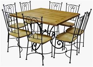 Chaise Fer Forgé : table carr e ch ne et fer forg 6 chaises bayonne ~ Teatrodelosmanantiales.com Idées de Décoration