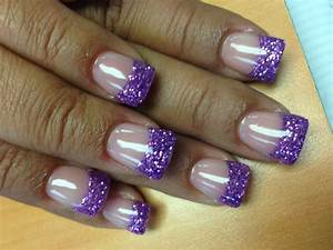acrylic nails with purple glitter tip by yelp