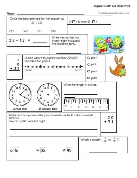 Singapore Math Worksheets Freeeducationalresourcescom