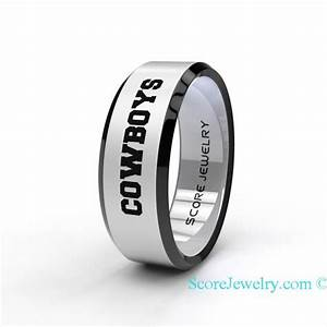 tungsten band ring beveled edge mens womens ring nfl With dallas cowboys wedding ring